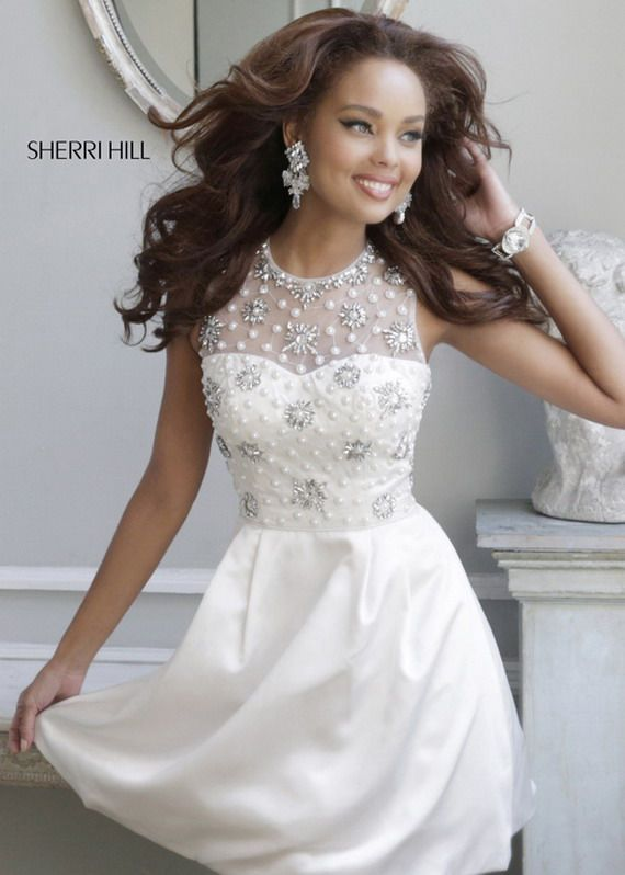 Sherri Hill Prom Dresses Cheap Short White