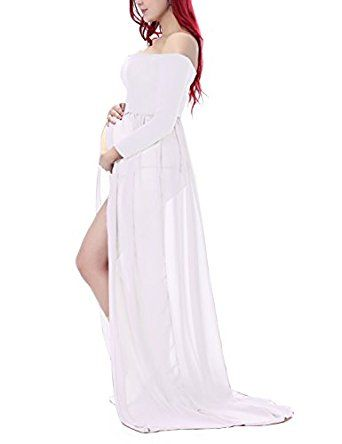 0cc5bf00fa783 Saslax Maternity Chiffon Gown Split Front Maxi Photography Dress for Photo  Shoot at Amazon Women's Clothing store: