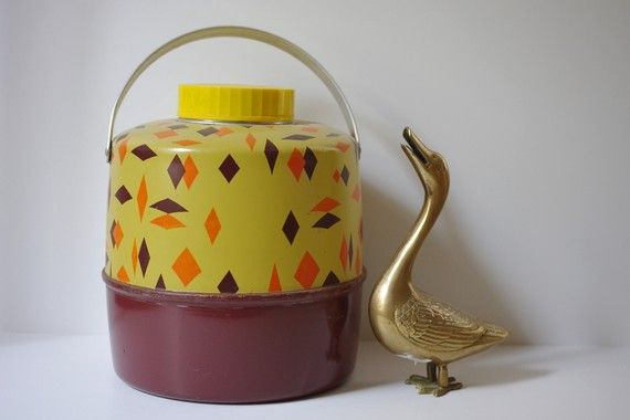 MidCentury Atomic Diamonds Bright Thermos Canister by birdfruit