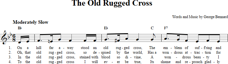 The Old Rugged Cross sheet music with chords and lyrics for C ...