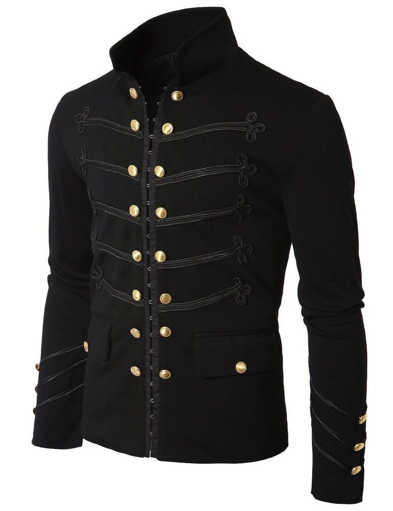 14b72ee2068 Men Black Embroidery Military Napoleon Hook Jacket 100% Cotton  Handmade   BasicJacket
