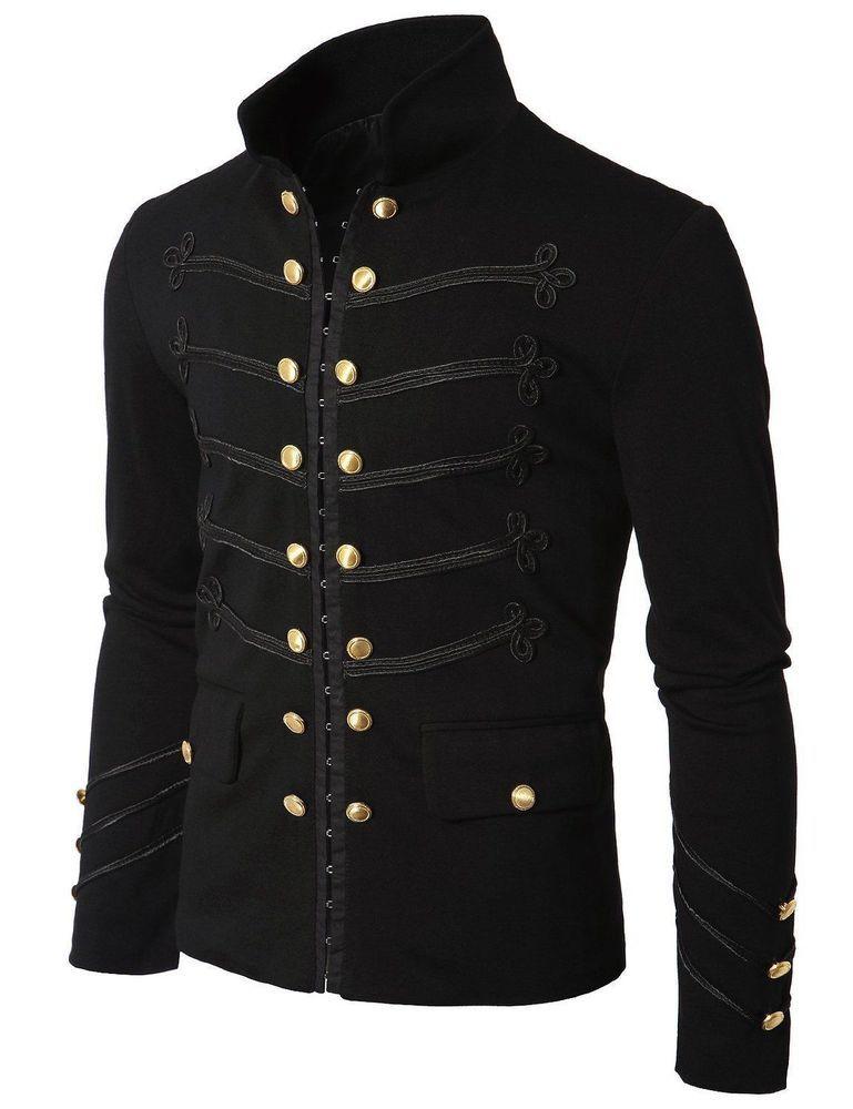 4ea4eacbbe3 Men Black Embroidery Military Napoleon Hook Jacket 100% Cotton  Handmade   BasicJacket