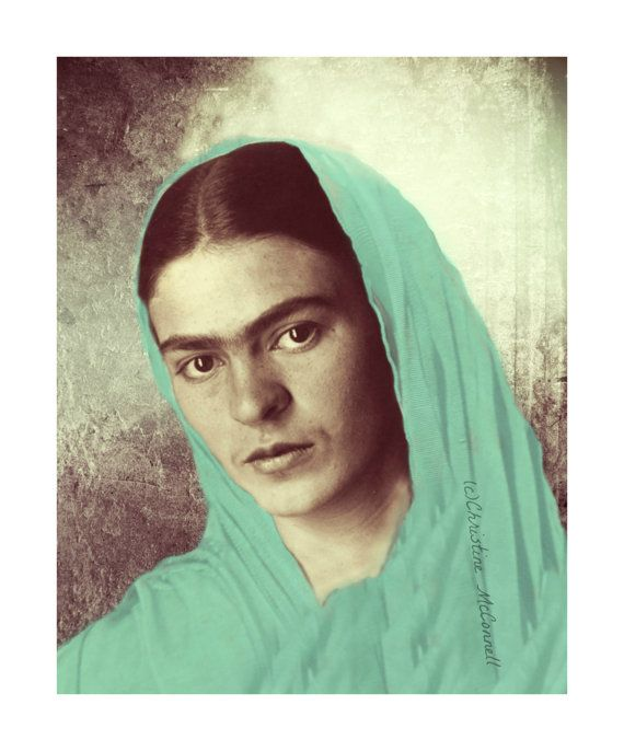 Frida Kahlo Original Print Mixed Media Photomontage Modern Home Decor Turquoise Blue Rebozo Small to Poster Print Available Our Lady Mary