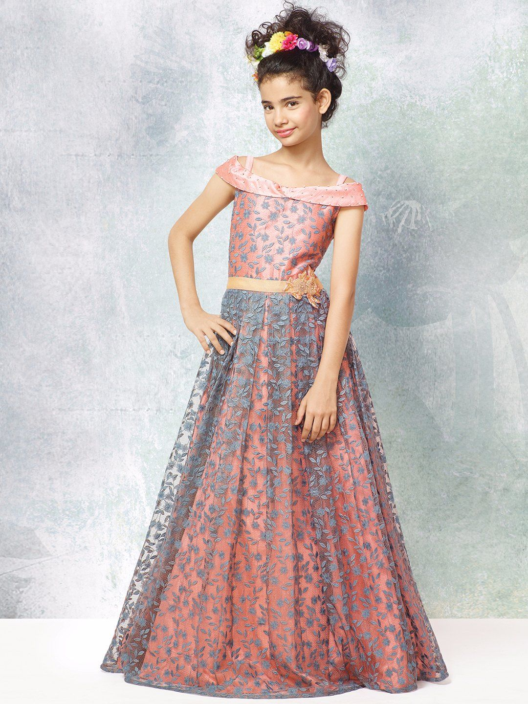 78a632873f Shop Peach grey silk net party wear gown online from G3fashion India. Brand  - G3, Product code - G3-GGO00093, Price - 3995, Color - Grey, Peach, ...