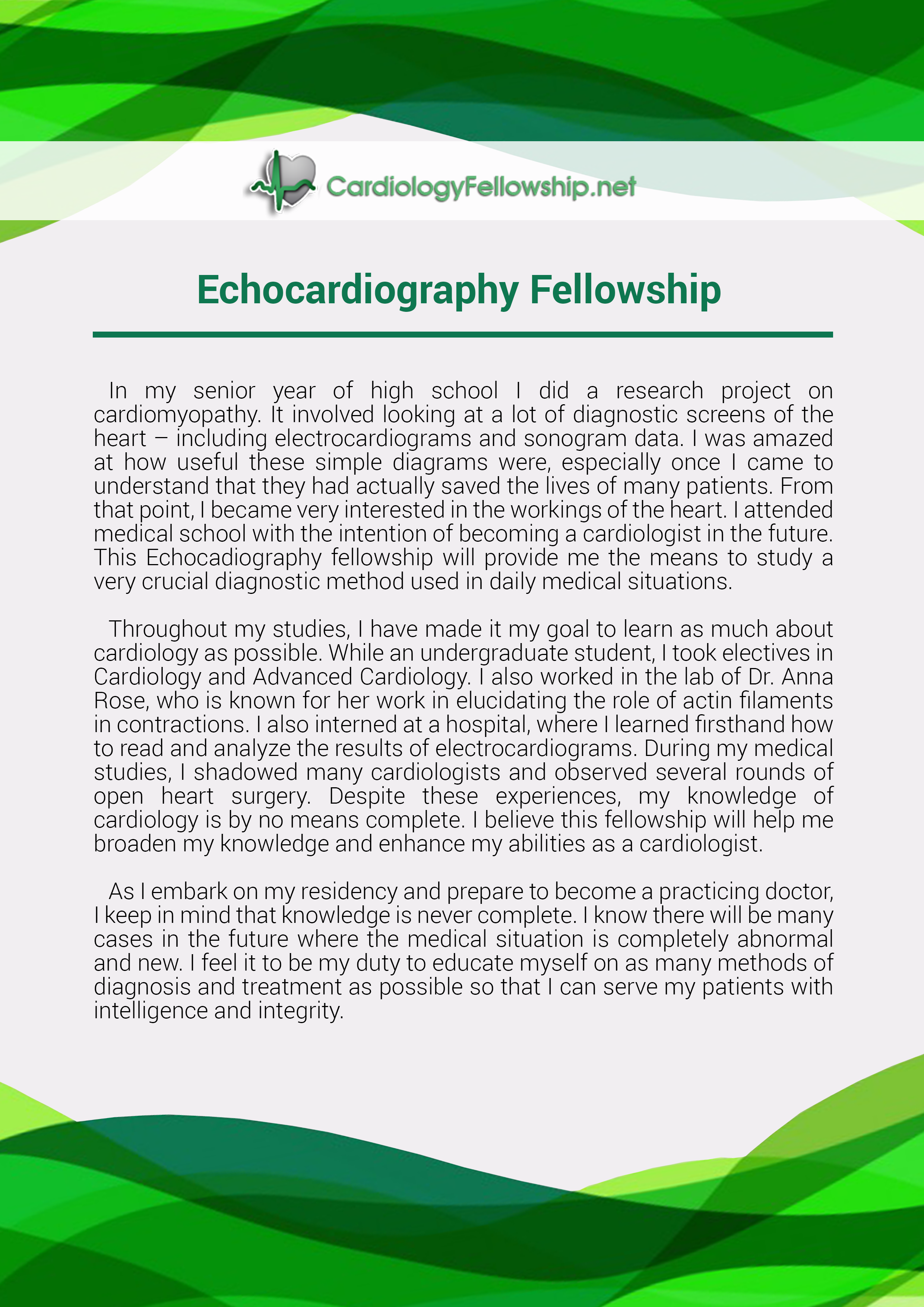 View This Great Echocardiography Fellowship Personal Statement Sample To  See How You Need To Format Your Personal Statement.