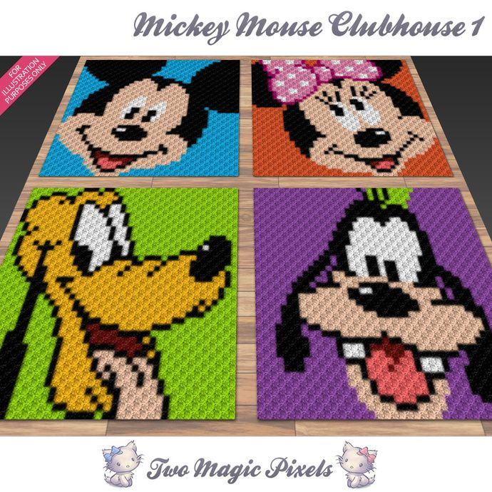 Mickey Mouse Clubhouse Bundle 1; crochet; knitting; c2c, cross ...