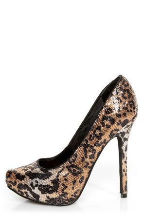 f17d6574a66 Naughty Monkey Glistening Tan Leopard Print Sequin High Heels -  69.00