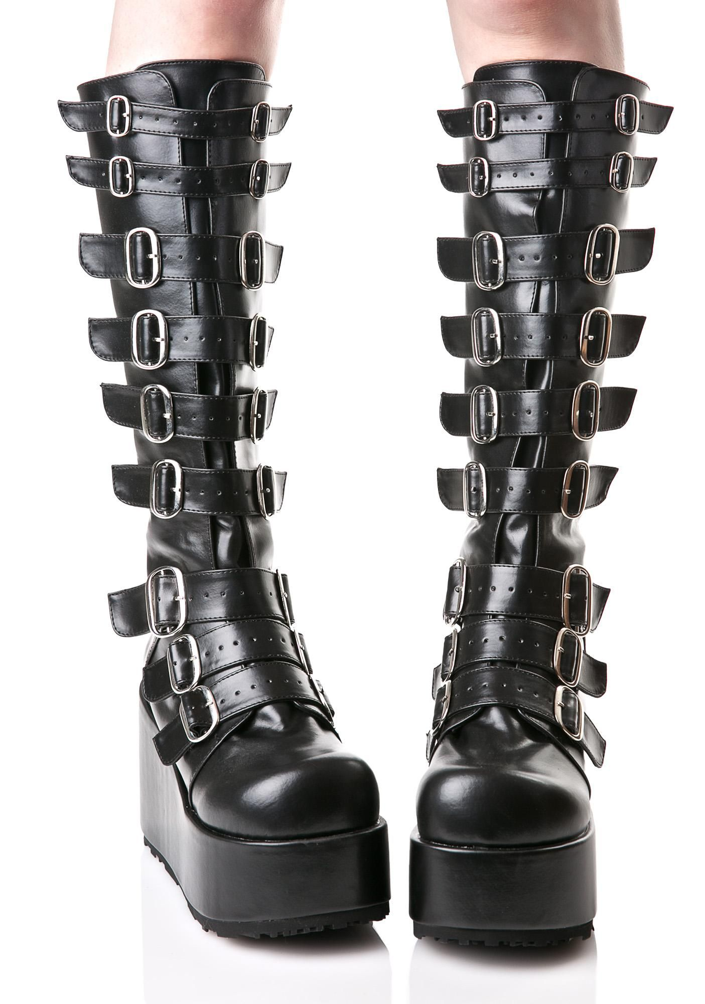 487b4e2f9d072 Demonia Concord Buckle Platform Boots are ready to strap ya in for the time  of yer lyfe. These hardcore knee-high boots are constructed from supa  supple ...