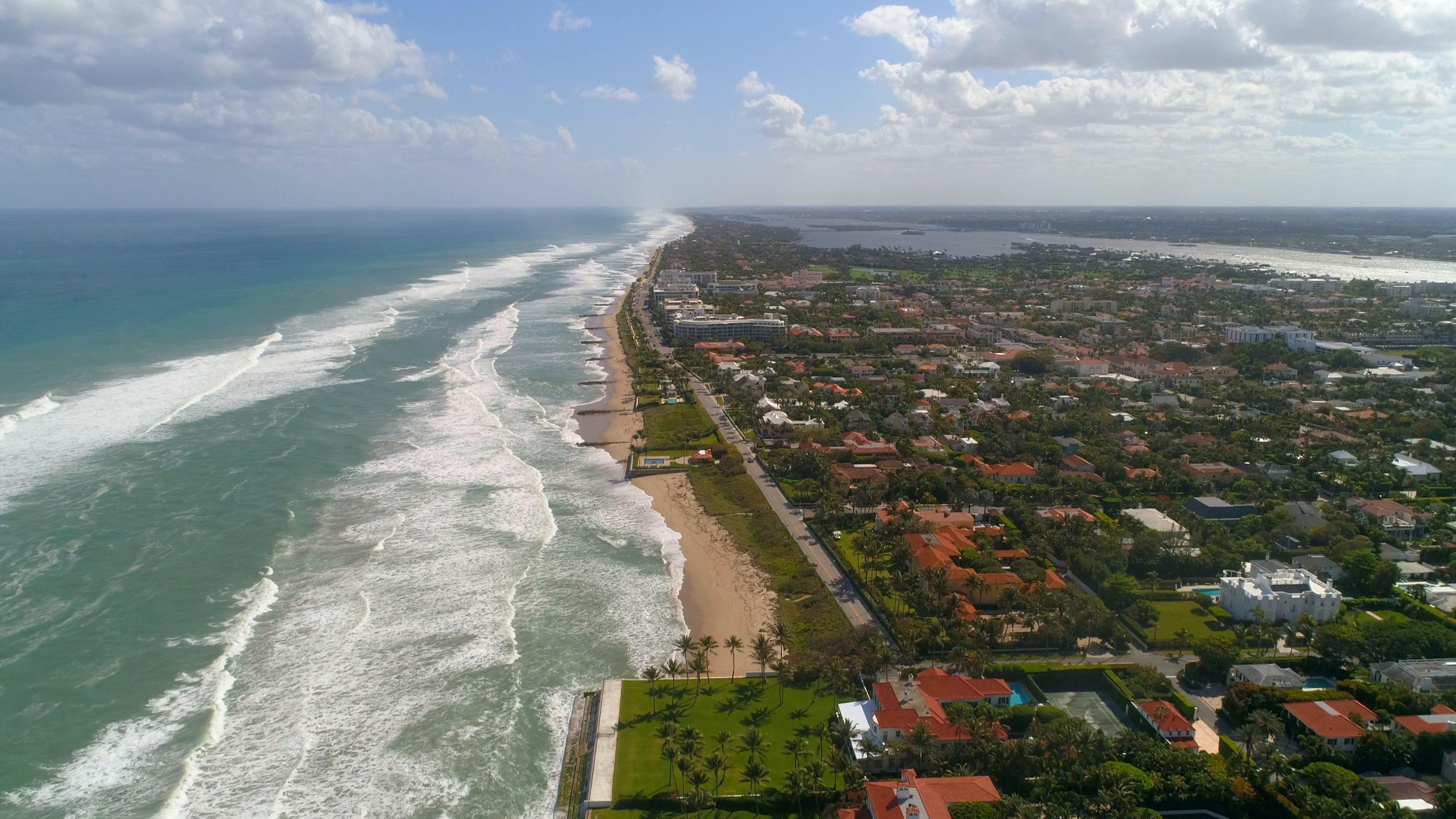 Aerial Drone Palm Beach Coastline 4k 60p Stock Footage Palm Beach Aerial Drone Palm Beach Atlantic Beach Aerial Drone