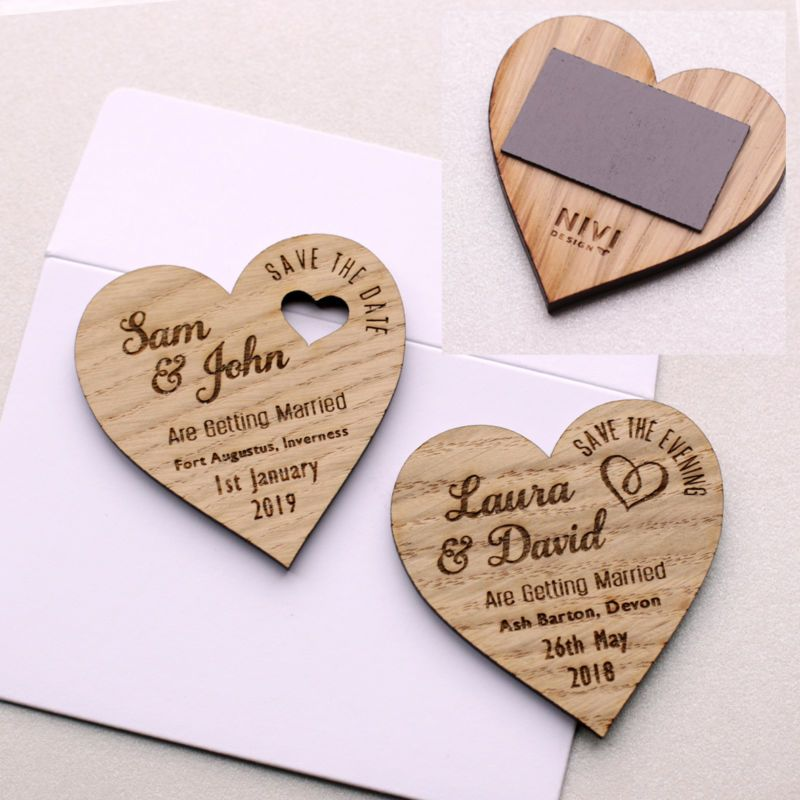 Details About Save The Date Wood Heart Magnet Wooden Wedding