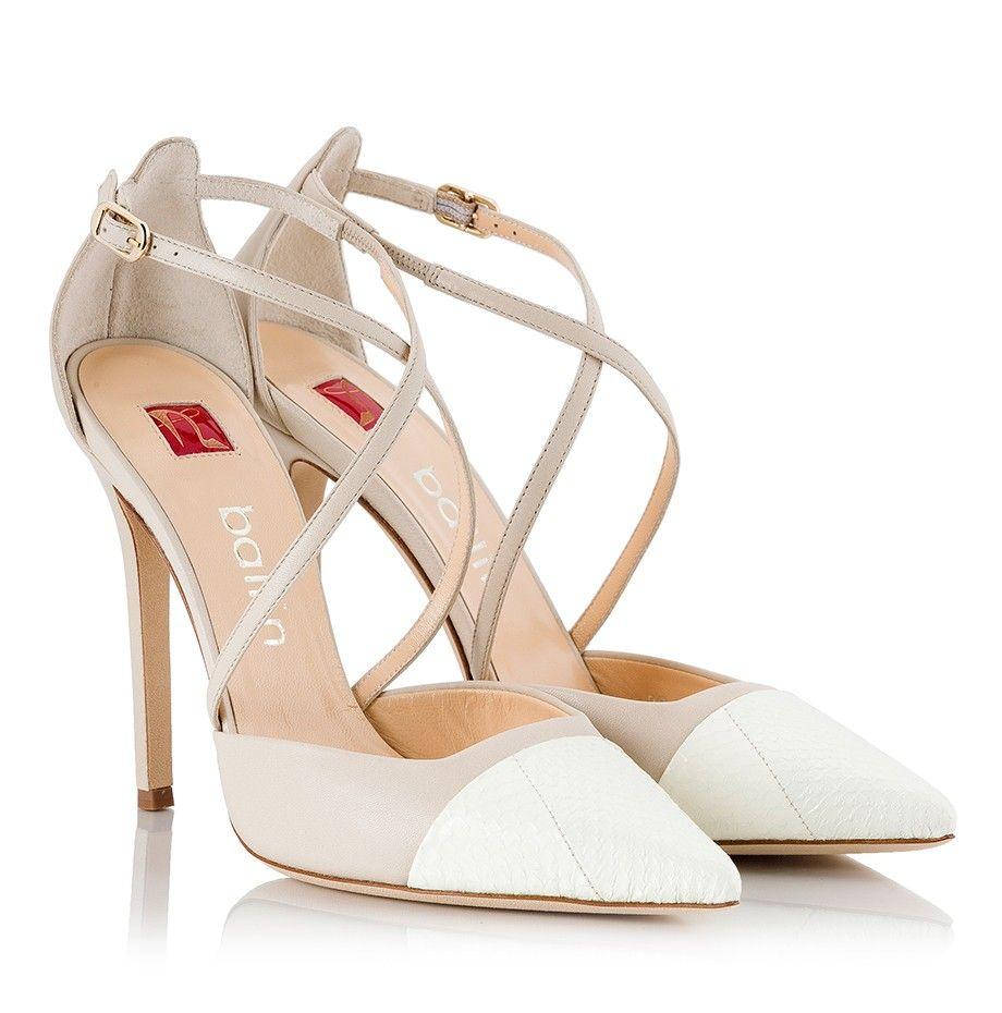 Ballin Beige & white leather criss-cross strap D'Orsay pointy stiletto pumps  |