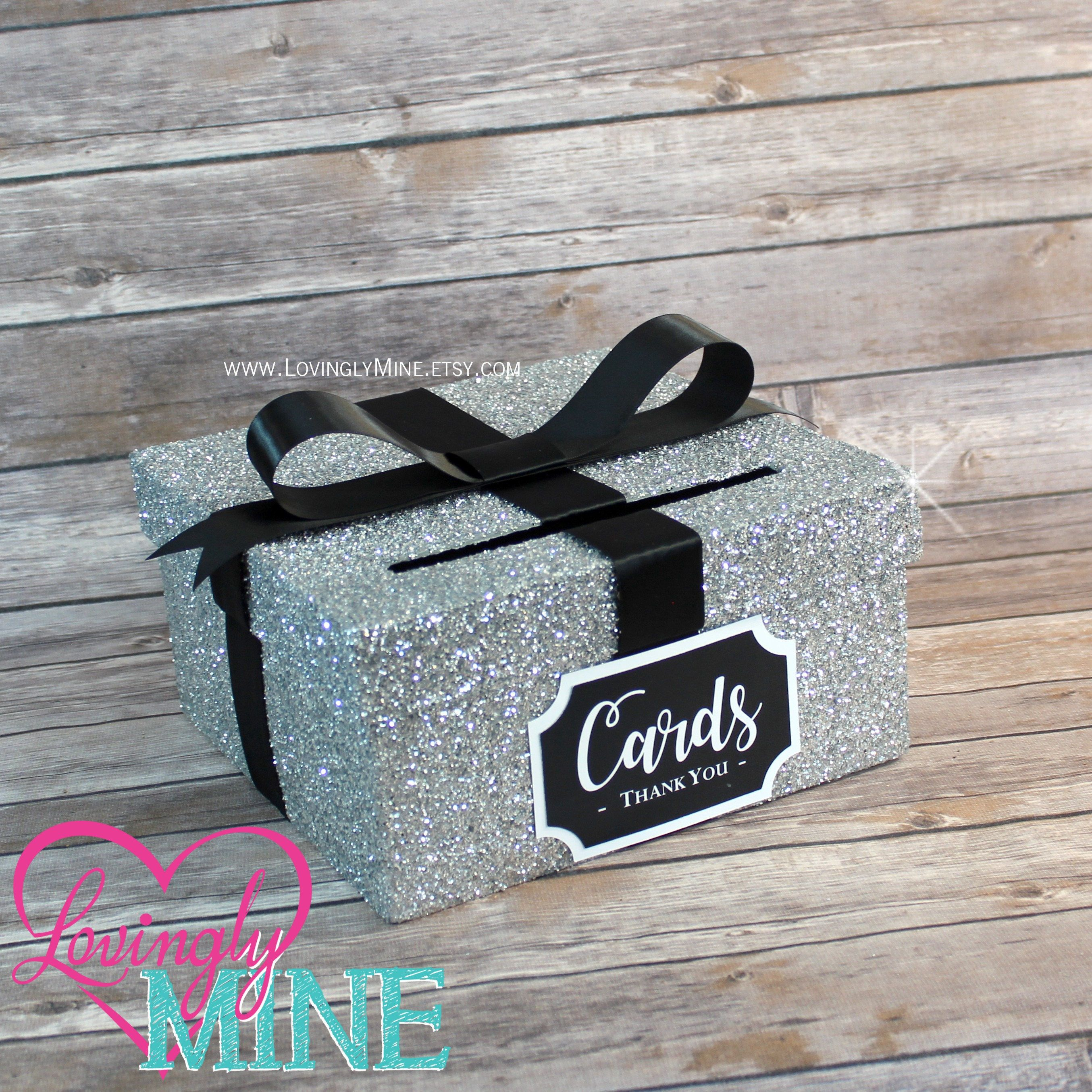 Card box glitter silver and black gift money box for any event card box glitter silver and black gift money box for any event baby shower wedding bridal shower birthday party sweet 16 bookmarktalkfo