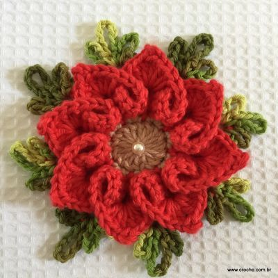Flor cora??o passo a passo Crochet and Crochet flowers