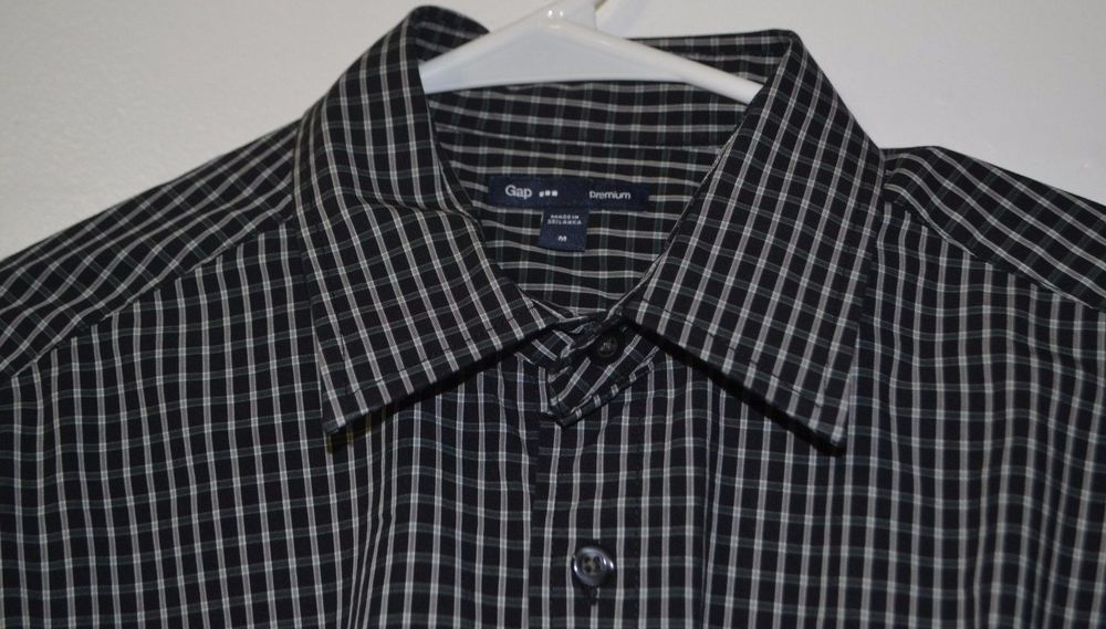 Gap Premium Men's Button Down Shirt Size M Black Check Long Sleeve Cotton Blend #GAP #ButtonFront