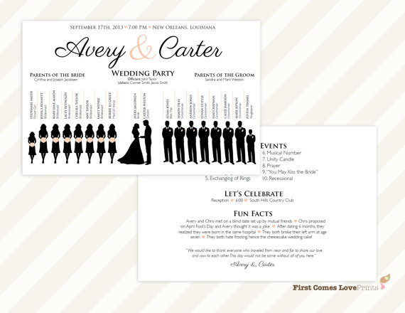printable wedding program the avery double sided front and