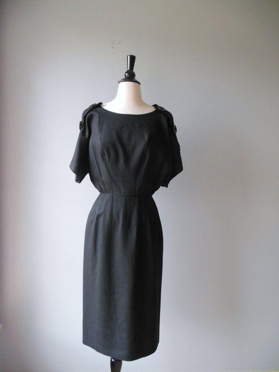 G. Fox and Co. black dress / 60s big button dress / button up baby dress