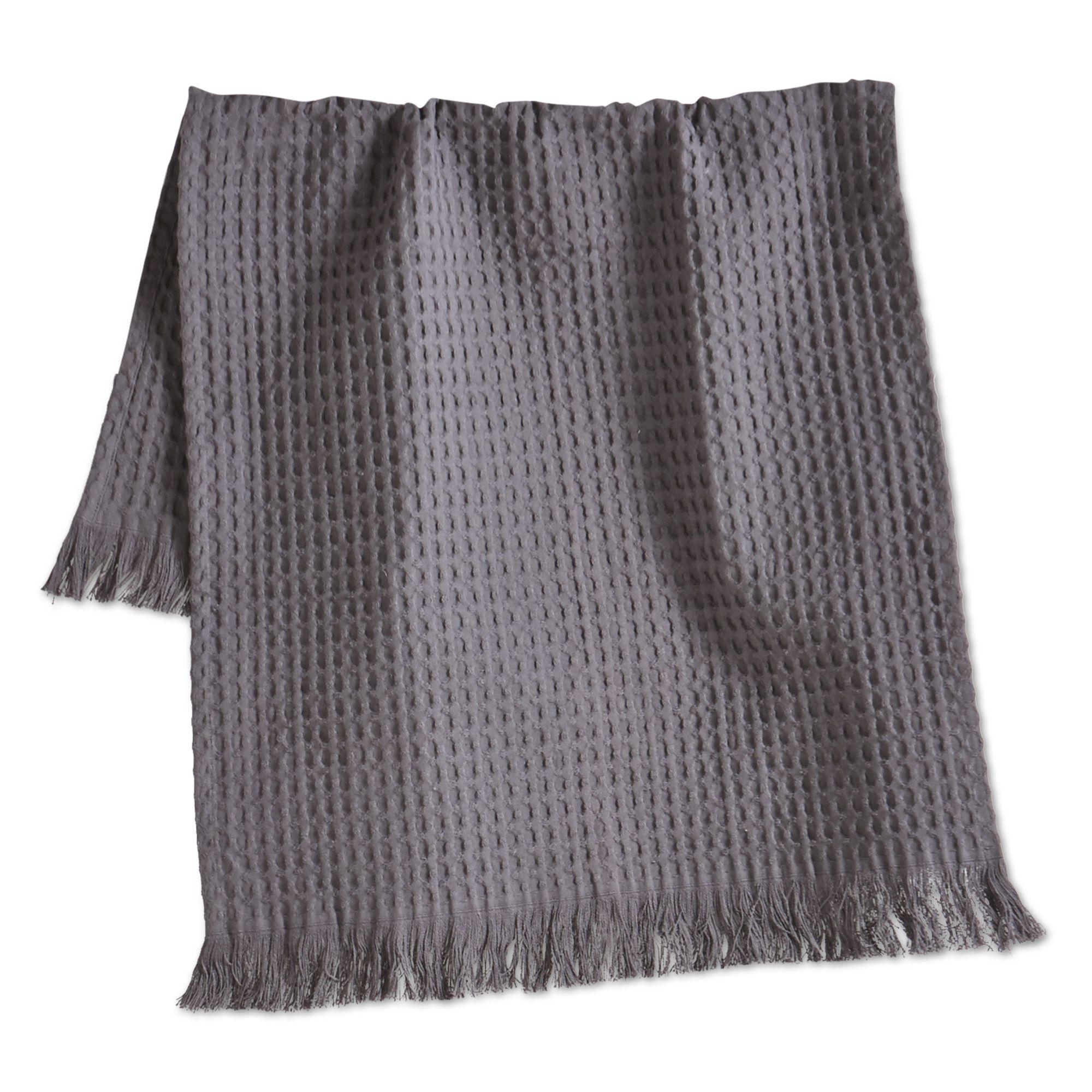 Oversized Waffle Weave Fringed Cotton Dishtowel Gray Gray 205270