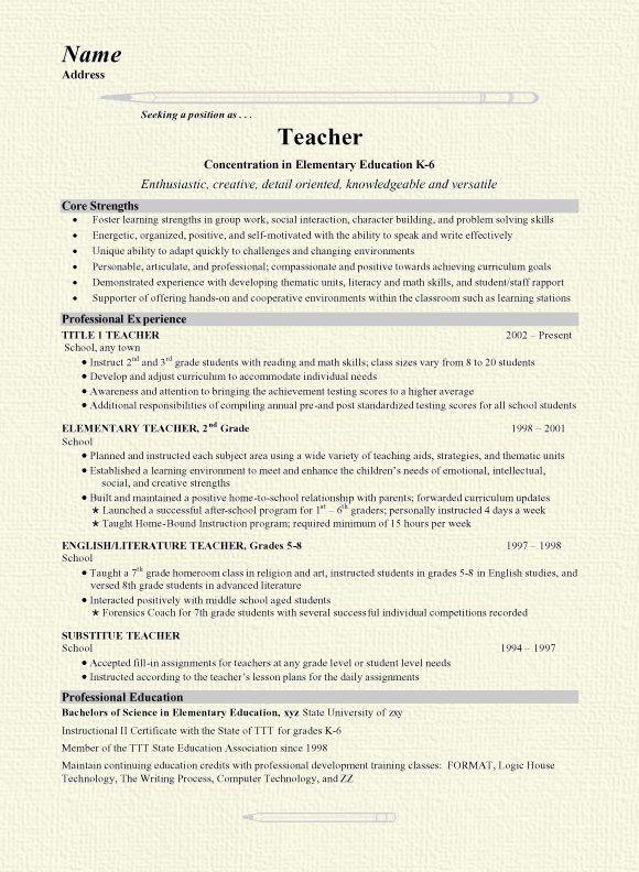 Grade School Teacher Teaching resume, Elementary teacher