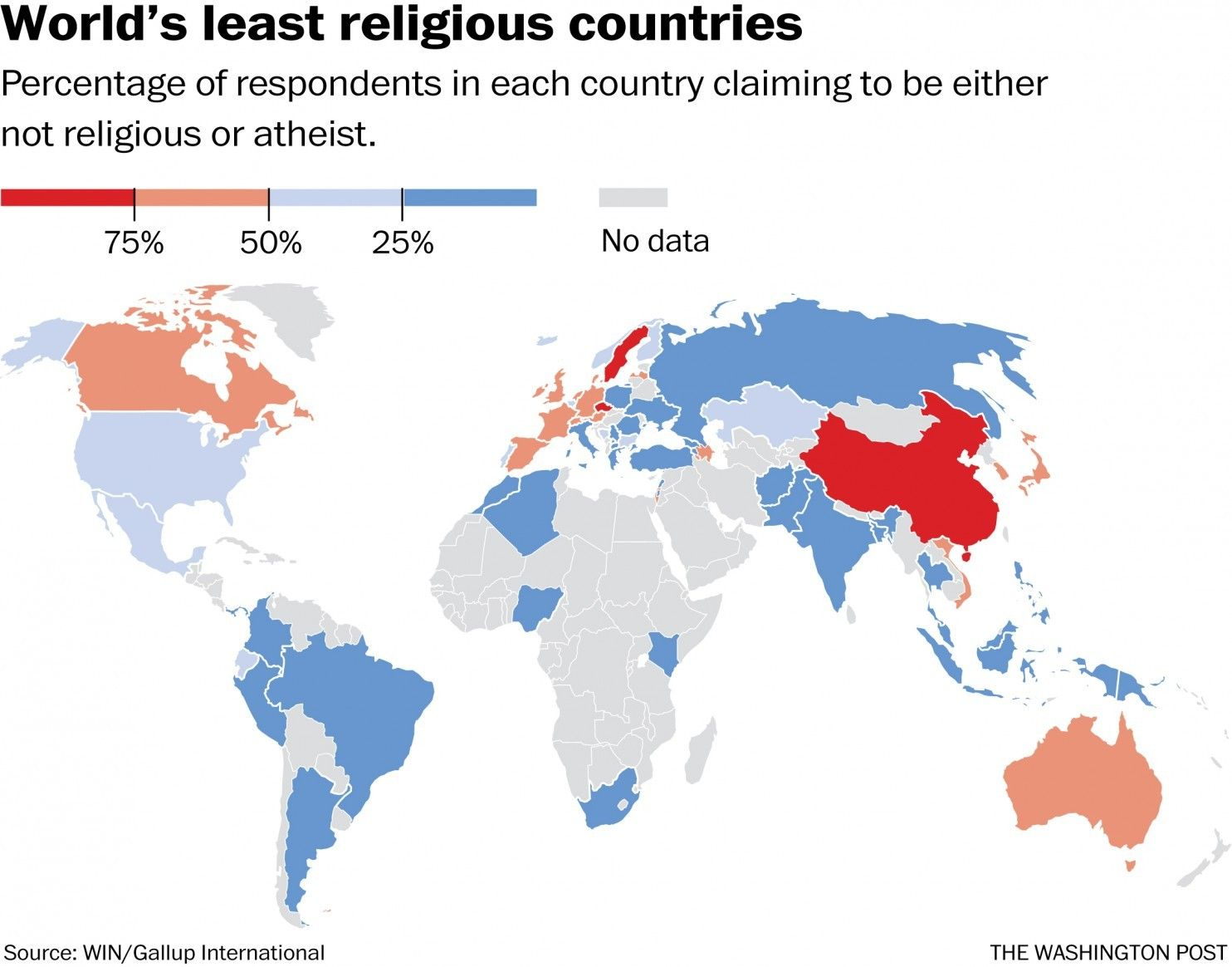Map: These are the world's least religious countries