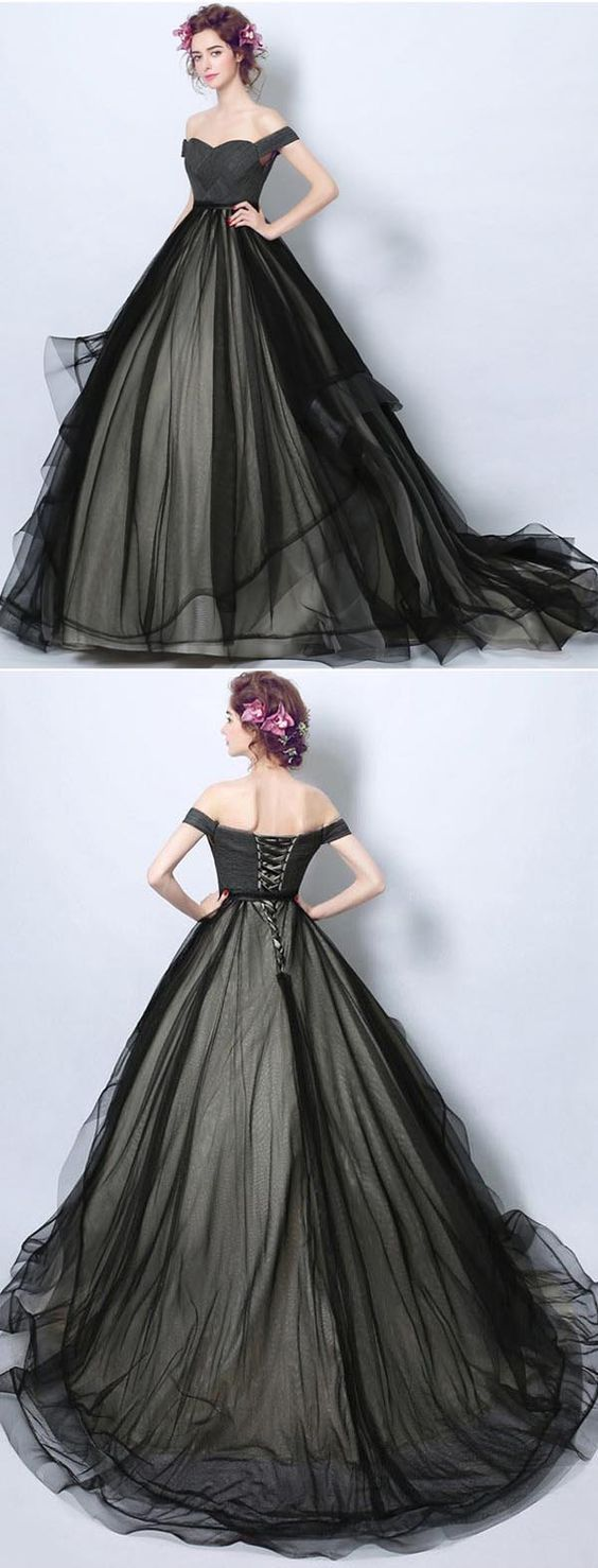 Delicate Black Tulle Off Shoulders Princess Ball Gown Wedding Dress Gdc1218 Princess Ball Gowns Wedding Dresses With Straps Ball Dresses [ 1478 x 564 Pixel ]