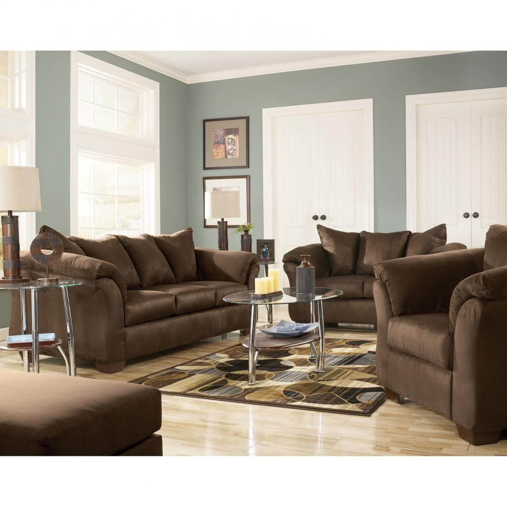 Signature Design By Ashley Dollar Bay 4 Piece Living Room Set In Cafe With  FREE