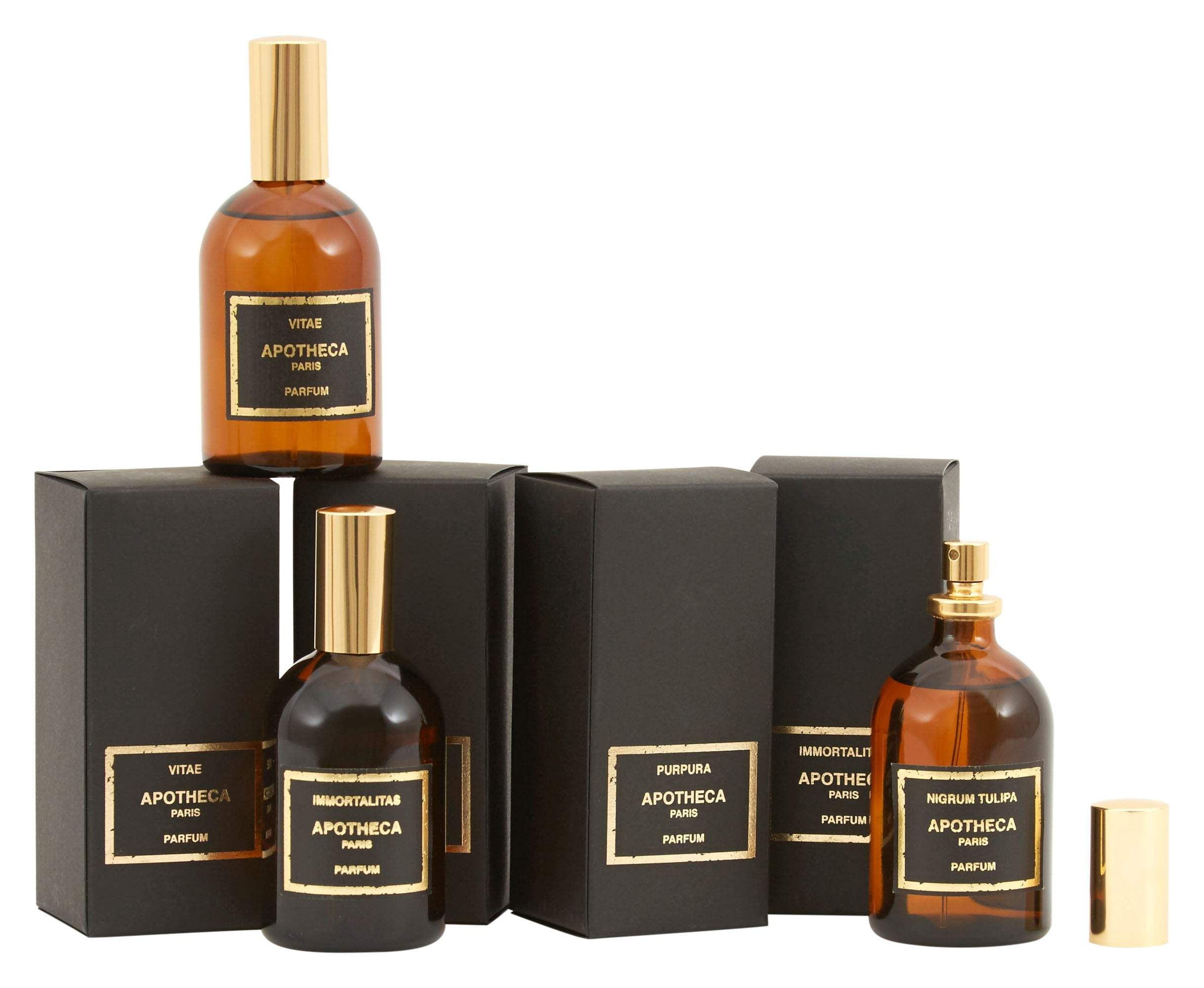 Find your signature scent in our enchanting collection of Apotheca Parfum. Handcrafted in Grasse, France, each of these unisex perfumes is made from a carefully chosen blend of natural fragrance compounds, inspired by memory and mood. Housed in vintage-inspired dark amber glass spray bottles, choose from four nostalgia-evoking scents. •unisex fragrances •scented with a blend of natural fragrance compounds •dark amber glass spray bottle •handmade in Grasse, France Dimensions •2