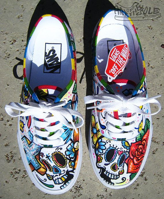02d94907bb53 Day Of The Dead Custom Hand Painted Vans Authentic by ArtOfTheSole