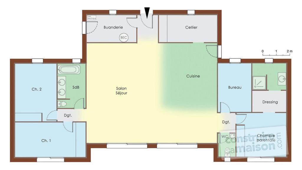 Plan Rdc - maison - Maison bois