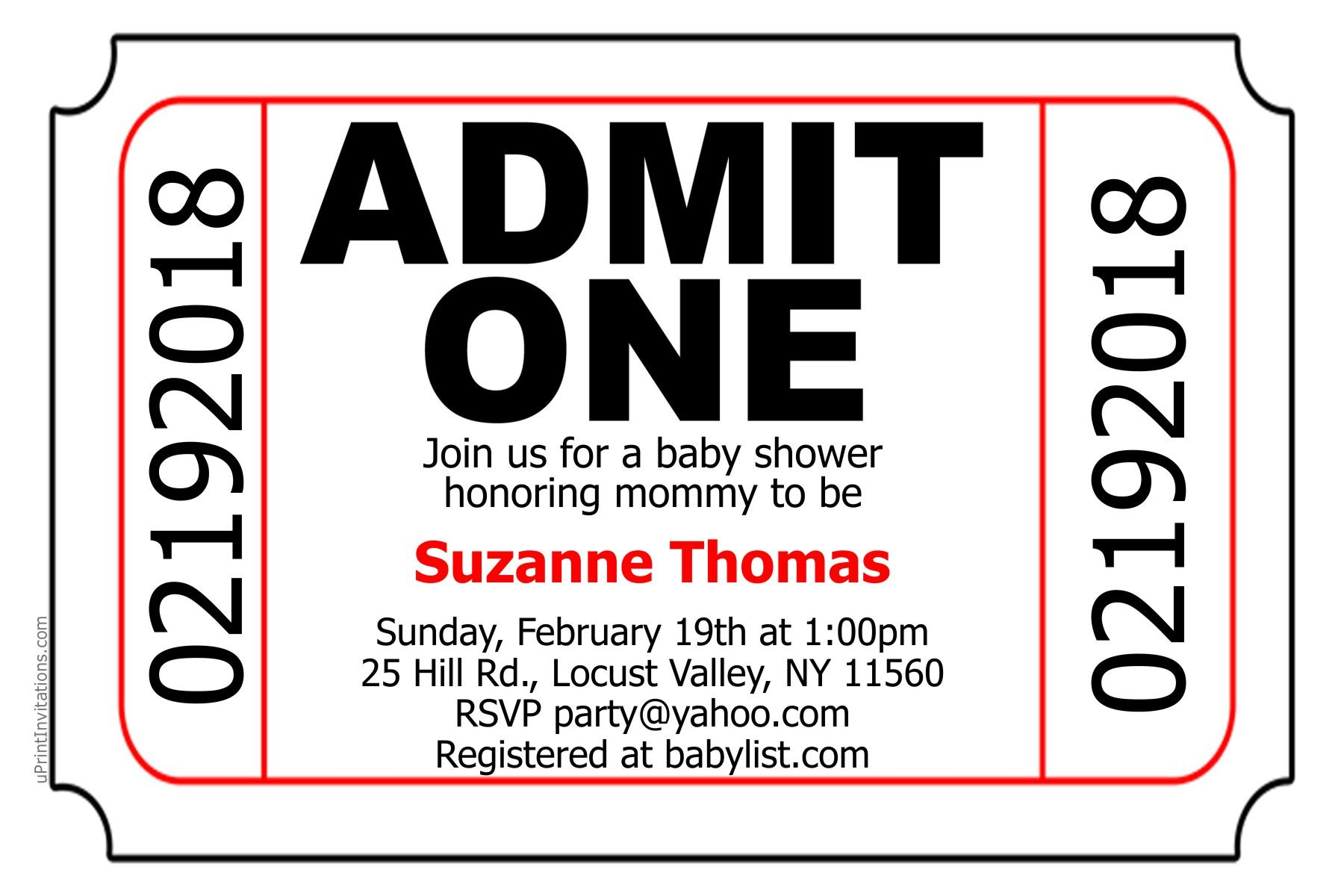 ticket admit one baby shower invitations digital download get