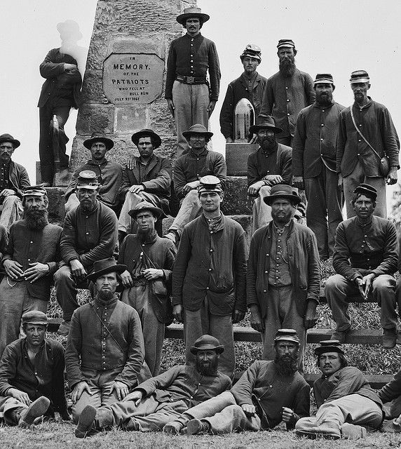 Soldiers In Front Of Bull Run Monument Virginia June