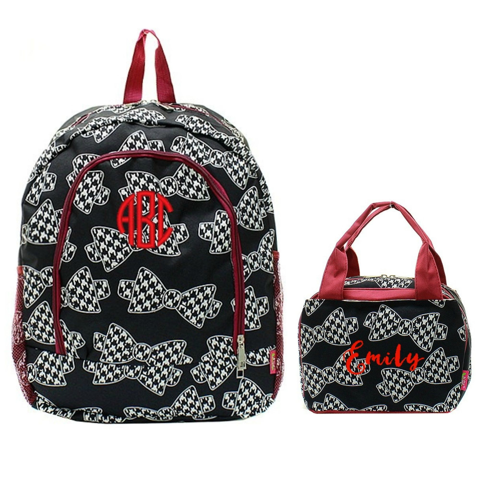 Matching Houndstooth Bow Tie Personalized Kids Backpack & Lunch ...