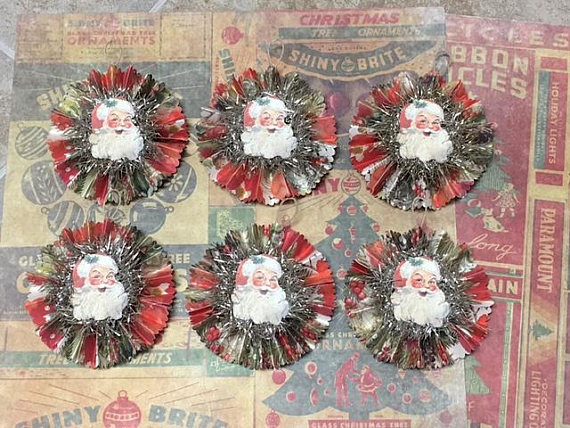 Six 6 Vintage Style Christmas Paper Ornaments Retro Paper Christmas Ornaments Vintage Christmas Ornaments Vintage Christmas
