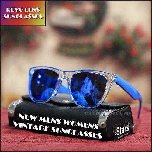 Translucent Clear Frame Retro Blue Mirror Lens Wayfarer Sunglasses New Unisex