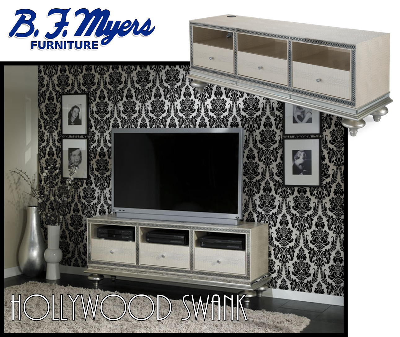 #HollywoodSwank Home Entertainment Console AVAILABLE AT B.F. MYERS FURNITURE  In Goodlettsville, TN