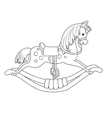 Rocking Horse Vector Image On Vectorstock Rocking Horse Horse Coloring Pages Rocking Horses Painted