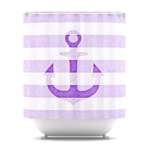 Purple Anchor Vintage Stripes Bathroom Shower Showercurtain