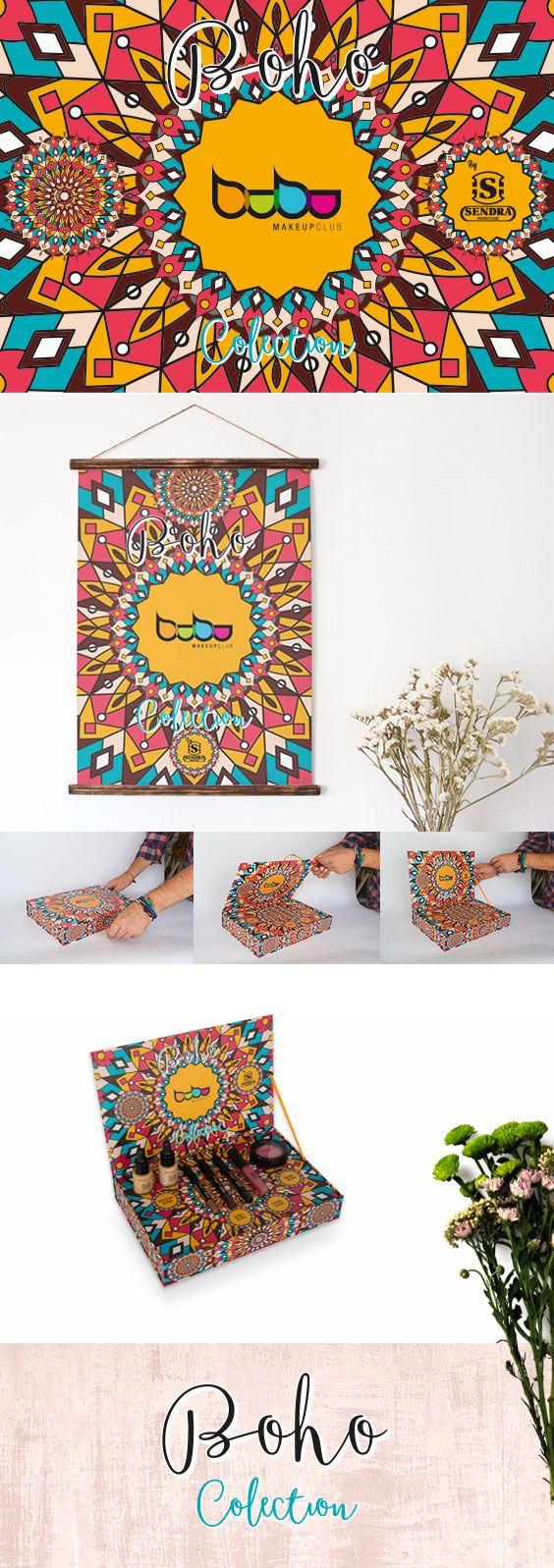 Diseño gráfico, packaging y marketing para campaña Boho Collection by Sendra Boots, colección Bubu Makeup Club.