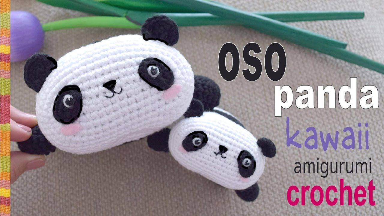 Bello oso panda kawaii tejido a crochet en la técnica de amigurumi ...