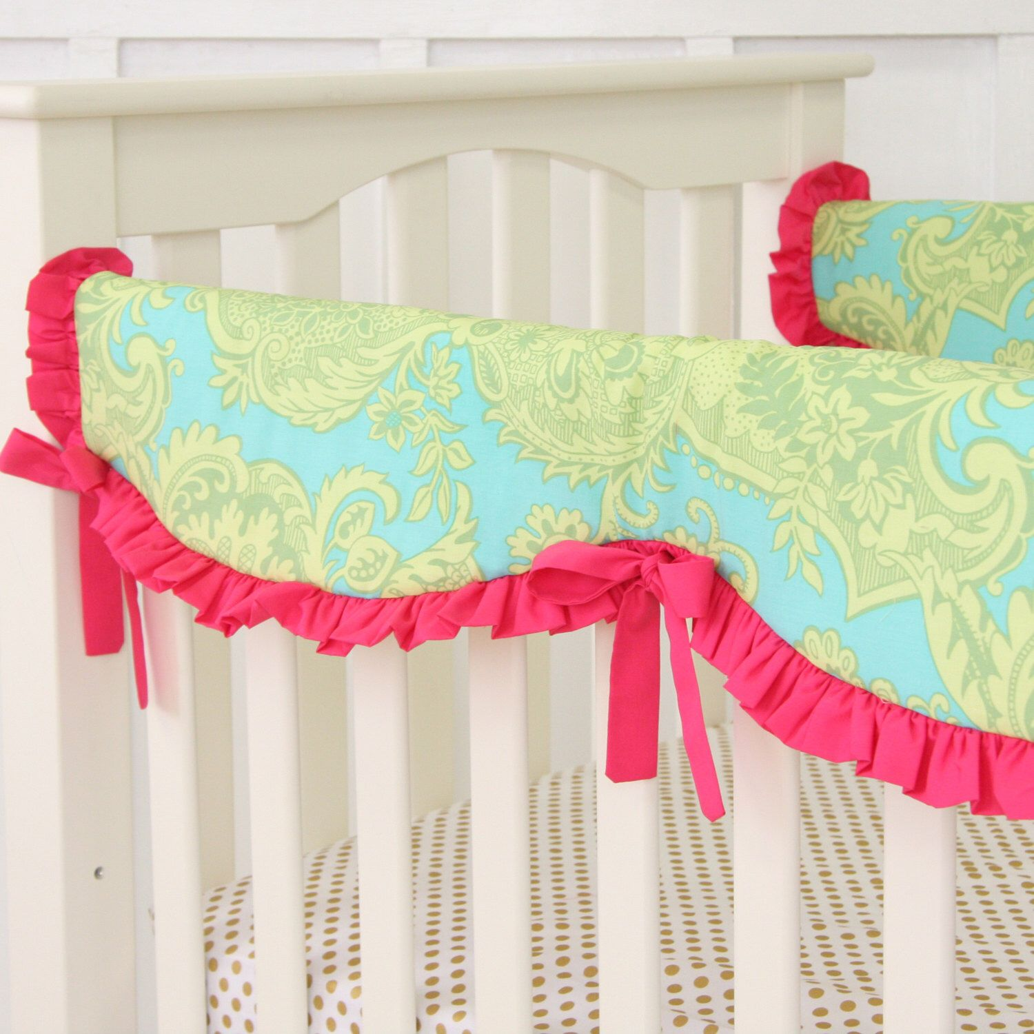 Piper's Paisley Crib Rail Cover for Bumperless Bedding
