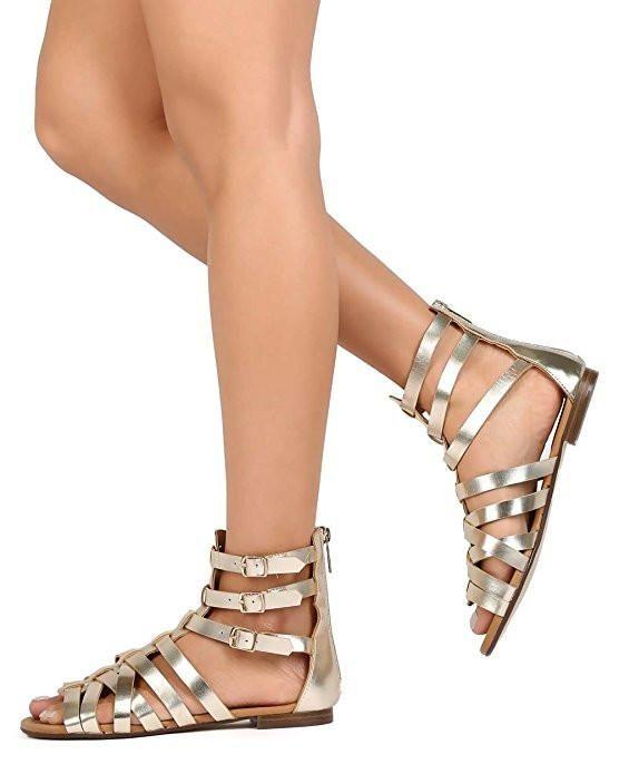 34d6c118bfa0  FSJshoes -  FSJ Shoes Women s Champagne Hollow-out Flat Gladiator Sandals  - AdoreWe.com