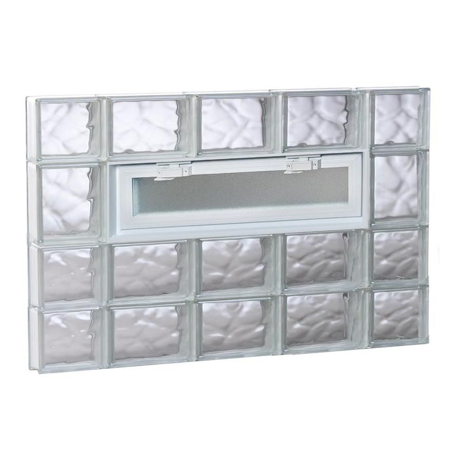 REDI2SET Wavy Glass 34.75-in x 25-in Frameless Replacement Glass Block Window