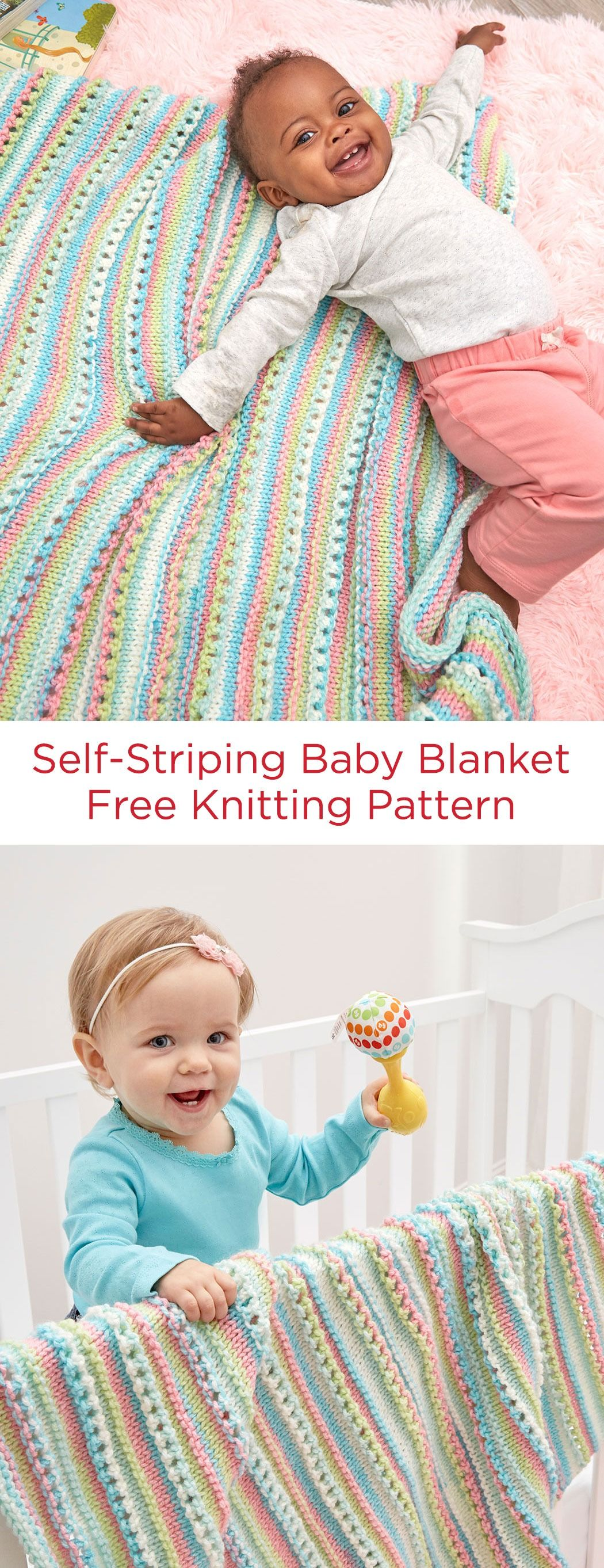 Self-Striping Baby Blanket Free Knitting Pattern in Red Heart Yarns ...