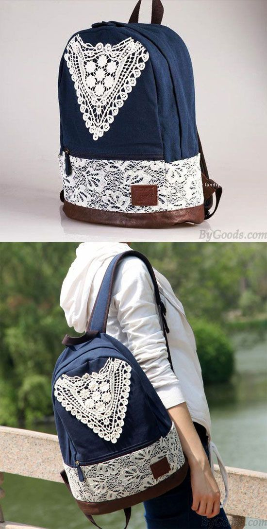 36ce748bbe4f Fashion College Style Triangle Lace Canvas Backpack for my sister !  lace   college  backpack  school  college  bag  girl  student  leisure  travel