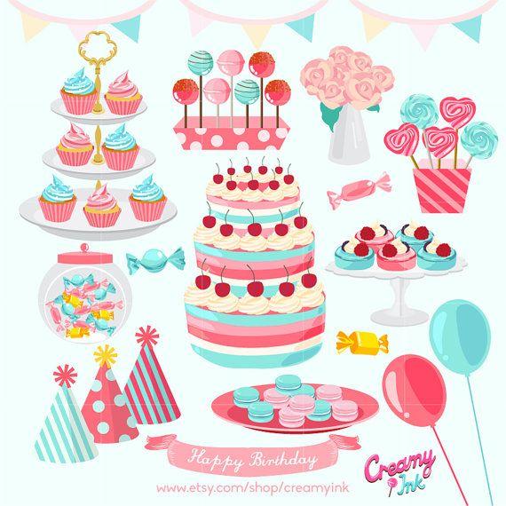 Girls Birthday Party Digital Vector Clip ArtBaby girl Cakes Digital