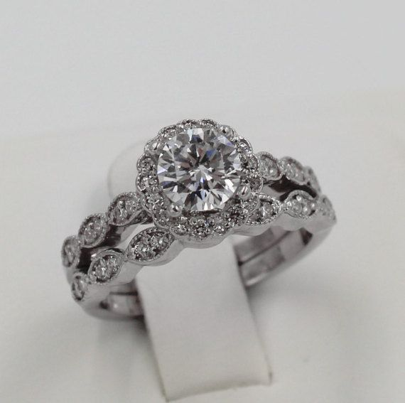 Art Deco Halo Ring and Band Set CZ Halo Ring by PlatinumClassics