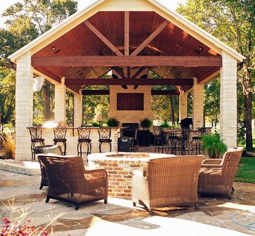 Covered Patio Exposed Beams Gable Roof Design Ideas Pictures