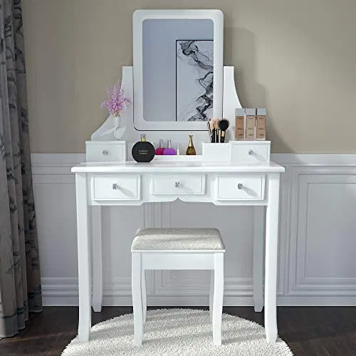 Amolife Makeup Vanity Table Set With Mirror Drawers And Stool Deals Furniturev Com Dressing Table Vanity Vanity Table Set Dressing Table Mirror