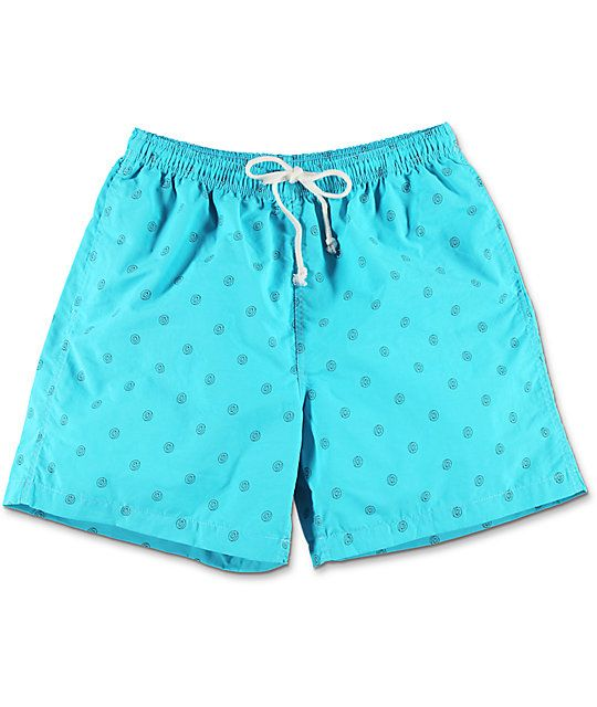 In a world where aqua and donuts collide, the Allover Donut board shorts from Odd Future are made. These board shorts feature black outlined Odd Future donuts throughout on vibrant turquoise nylon shorts.