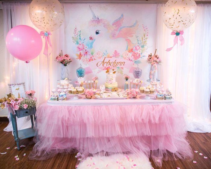 Baby Unicorn 1st Birthday Party Baby unicorn Dessert table and