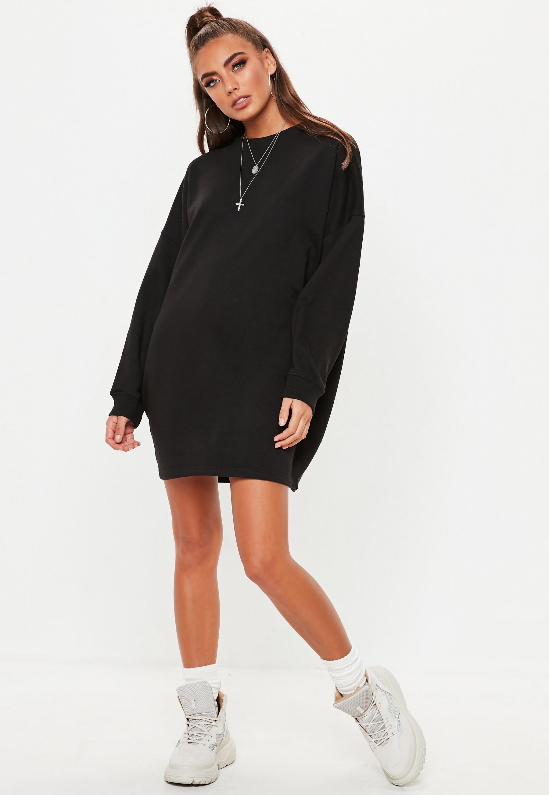 e3eb0841a Missguided - Black Oversized Sweater Dress